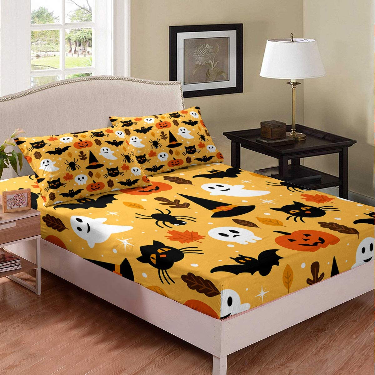 Erosebridal Halloween Fitted Sheet TwinXL Cartoon Pumpkin Sheet Set Lantern Bedding Ghost Bed Cover for Kids Boys Girls Bedroom Decor 2 Pcs Bedding Set