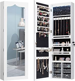 CHARMAID 5 LEDs Jewelry Armoire Wall Mounted/Door Hanging Mirror, Lockable Jewelry Cabinet with Full Length Mirror and 6 D...