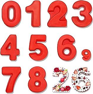 25cm 9 PCS Grand Nombre de Silicone Moule 0-9, Numéro Moule à Gâteau en Silicone 3D, Moules à Forme Spécifique pour Annive...