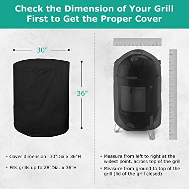 SunPatio Round Smoker Cover 30 Inch, Outdoor Heavy Duty Waterproof Kettle Grill Cover, UV and Fade Resistant, All Weather Pro