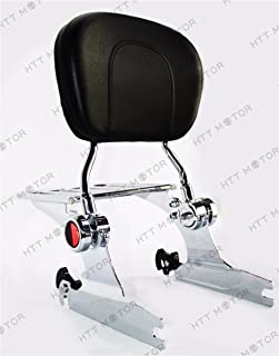 HTTMT Sissy Bar With Luggage Rack For 2006-2017 200mm Harley Softail [P/N: ASBB03] Adjustable Backrest Chrome