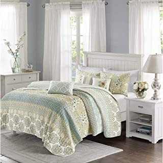 6 Piece Green Yellow Floral Coverlet Full Queen Set, Taupe Blue Medallion Pattern Bedding Striped Bed in A Bag for Master Bedroom Shabby Chic Cottage Country Modern, Cotton