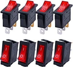 TWTADE / 8Pcs Red Light Illuminated On/Off SPST 3 Pin 2 Position Mini Boat Rocker Switch Car Auto Boat Rocker Toggle Switch Snap AC 250V/16A, 125V/20A (Quality Assurance for 1 Years)XW-604BA1/R