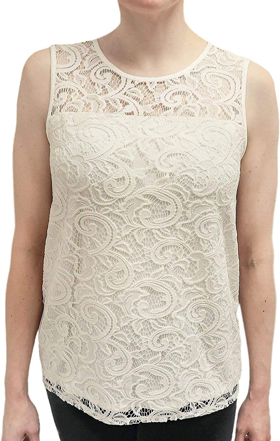 Adrianna Papell Stretch Lace Tank in Ivory, Size Small