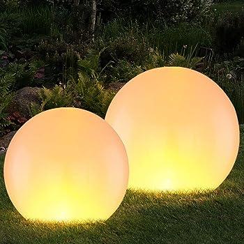 2er Set LED Solar Leuchte silber blau Feuer Effekt Flacker Kugel Außen Lampe