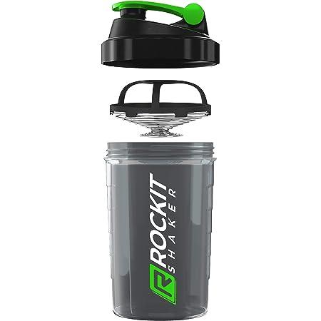 Rockitz Premium Shaker Proteines 500ml - fonction de mélange premium avec filtre à infusion - pour des shakes protéinés fitness super crémeux, tasse à shake protéiné - Vert   Noir