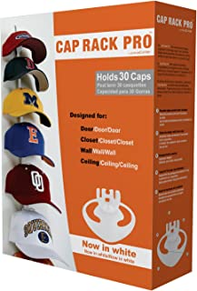 Perfect Curve Cap Rack Pro System - Baseball Cap Organizer, Holds 30 Caps, White