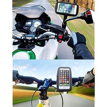 Soporte movil moto nuevas sujeciones a espejo retrovisor y manillar de extrema dureza funda estanca v/álida para todos los smartphones sistema anti-ca/ídas soporte movil en moto soporte moto movil negro
