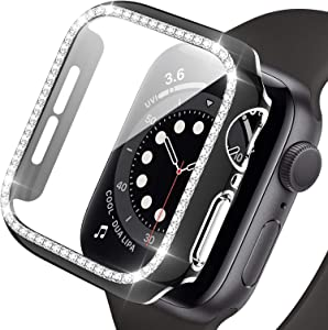 Haojavo Apple Watch Case with Screen Protector for Apple Watch Series 3/2/1 38mm, New 3D Full Cover Crystal Bling Diamond Rhinestone Ultra-Thin Bumper Protective Case for iWatch 38mm Accessories
