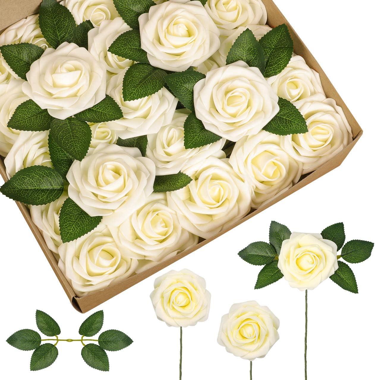 Flores artificiales de espuma de latex. Pack de 50 (rosas b)
