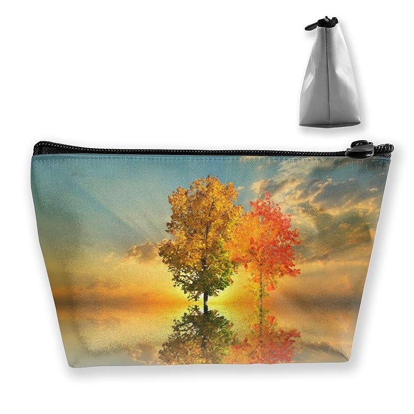ラケットカレッジ散歩Szsgqkj 黄金の秋の風景 化粧品袋の携帯用旅行構造の袋の洗面用品の主催者