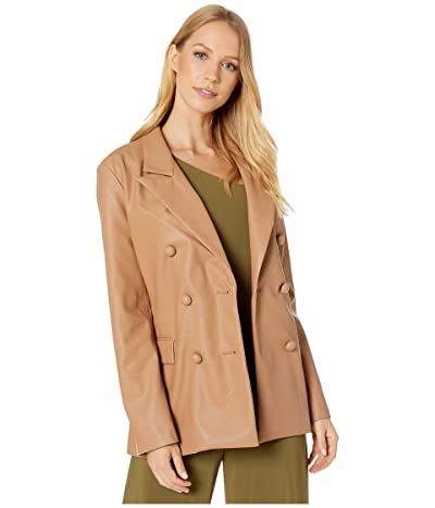 Blank NYC Vegan Leather Long Double Breasted Blazer in Murky Waters (Natural) Women