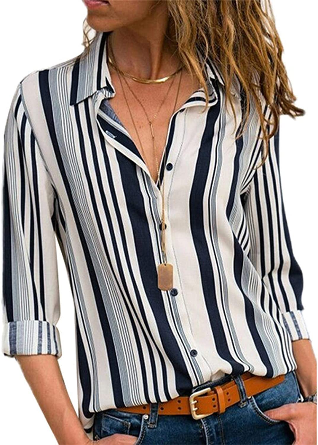 ADJ Women V Neck Striped Roll Up Sleeve Button Down Blouses Tops ,Summer Shirts Button Up Short Sleeve Pleated Tunic Tops