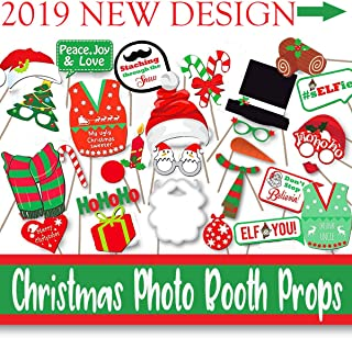 Christmas Party Photo Booth Props Gifts Knit – 47 Ugly Sweater Holiday Backdrops Decorations, Funny Selfie Props for Preschool Family Reunion Kindergarten office Kids Adults Xmas Party Games Favors