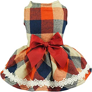 Fitwarm Elegant Lace Plaid Dog Dress for Pet Clothes Shirts Apparel