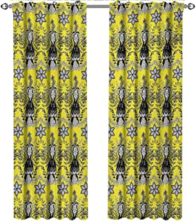 shenglv Grey and Yellow, Curtains Sliding Glass Doors, Ethnic Orietal Paisley Floral Design Ivy Swilrs Image, Curtains Kids Room, W84 x L84 Inch, Black White and Charcoal Grey