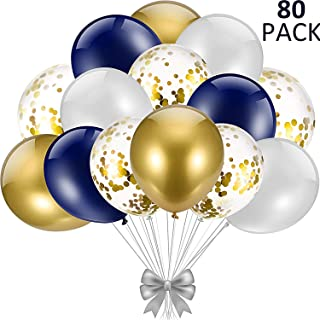 80 Pieces 12 Inch Navy Blue and Gold Confetti Balloons, Blue and Gold Balloons Navy Blue and Gold Confetti Balloons with Pearl White and Gold Metallic Balloons for Party Decorations (Colour 1)