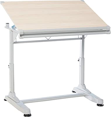 """Stand Up Desk Store Adjustable Height and Angle Drafting Table Drawing Desk with Large Surface (Silver Frame/Birch Top, 40"""" W X 26"""" D)"""