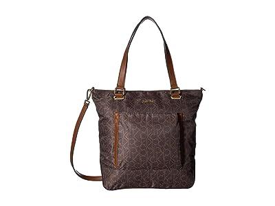 Calvin Klein Abby Nylon Tote (Brown/Khaki) Tote Handbags