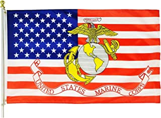 MOFAN United States Marine Corps Flag 3'x5' Polyester USMC Semper Fi United State American Military with Durable Heading a...