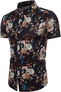 Men Summer Bohe Floral Short Sleeve Linen Basic T Shirt Blouse Top Plus Size