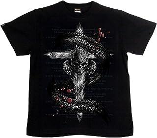 [GENJU] Tシャツ スカル 十字架 ドクロ ロック メタル 背面無地版 メンズ キッズ