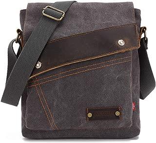AUGUR Students Vintage Canvas Bag Shoulder Bag Messenger Bag Multi-Function Men's and Women's Inclined Retro Leisure Travel Bag Backpack Single Briefcase Laptop Bag Satchel