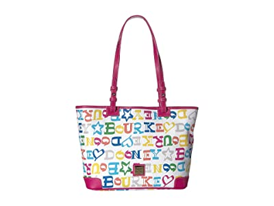 Dooney & Bourke Doodle Small Leisure Shopper (Multi/Fuchsia Trim) Handbags