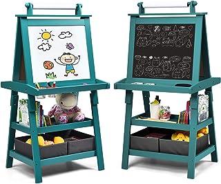 Costway Chevalet pour Enfants 3 en 1 Tableau de Dessin Magnétique Double Faces (Tableau Blanc + Tableau Noir) avec Rouleau...