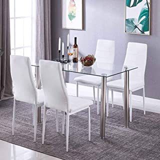 5 Pieces Modern Glass Dining Table Set with 4 High Back Faxu Leather Chairs White