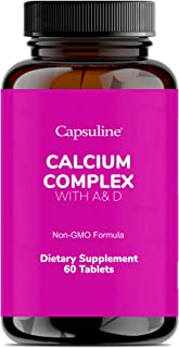 Capsuline Calcium Complex with A& D - 1000mg Supplements with Magnesium, Phosphorus, Vitamins A and D - Essential for Bone...