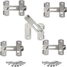 5 stuks deurslot schuifpoort vergrendeling kleine deurbout,hangslot hasp Duty, deurhasp slot 90 graden, roestvrij stalen v...
