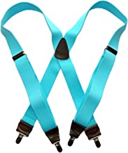 product image for Holdup Brand bright Sky Blue X-back Style USA made suspenders with Silver-tone No-slip Clips