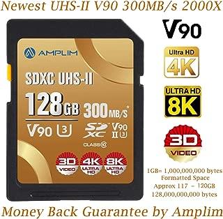 128GB UHS-II V90 SDXC SD Card - Amplim Blazing Fast 300MB/s (2000X) UHSII U3 Extreme High Speed 128 GB SD XC Memory Card for 4K 8K UHD Video Camera Camcorder. 128G TF Flash Storage – New Sept 2019