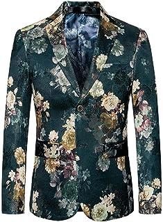 Fashion 2 Buttons Men's Suits Jackets Slim Fit Floral Blazer Tuxedo Coat Prom Jacket