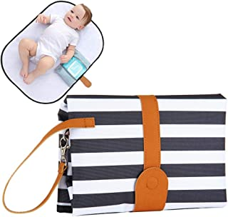 """Portable Changing Pad for Baby Travel and Outdoor Activities Leak Proof Wipe Clean Baby Diaper Changing Mat Station, Compact Wristlet Clutch Holds,Full Body Large Size 28"""" 19"""" (Stripe)"""