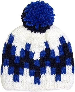 Jonathan Adler Stepped Chevron Intarsia Ski Hat Blue/White