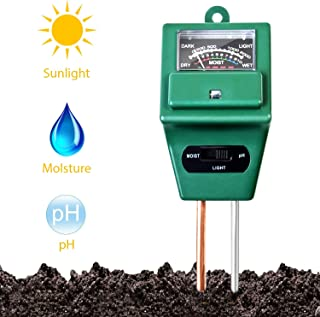 Soil Moisture Meter,3 in 1 Soil Test Kit,Soil PH Test kit Gardening for Moisture,Light & PH Testing,Digital Indoor/Outdoor Soil Tester/Analyzer/Detector Reader with Probe for Home and Garden,Farm,Lawn