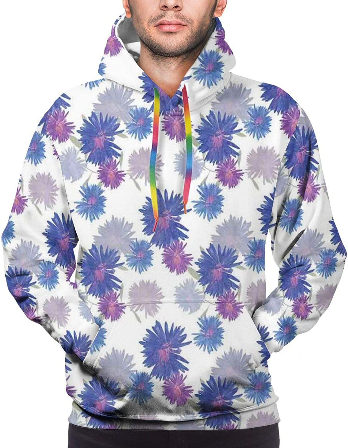 Men's Hoodies Sweatshirts,Miami Forest Palm Tree Leaves in Pastel Colors Watercolor Foliage Ecology