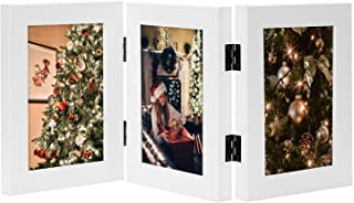 Golden State Art, Decorative Hinged Table Desk Top Picture Photo Frame, 3 Vertical Openings, 4x6 inches with Real Glass (4x6 Triple, White)
