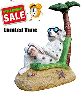 SAVERSMALL Reading Dog Garden Statue,Resin Outdoor Decoration,Lawn Yard Decor,Gnome Sculpture with Solar Light,Figurine Miniature Ornaments Kit for DIY Indoor Outdoor Art