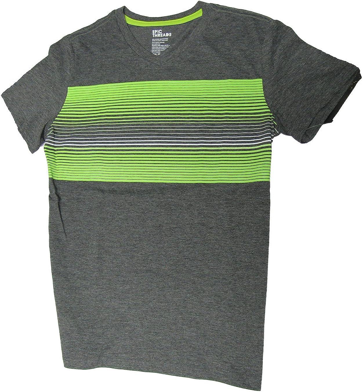 Epic Threads Boys' Milos Stripe T-Shirt Charcoal Heather Medium