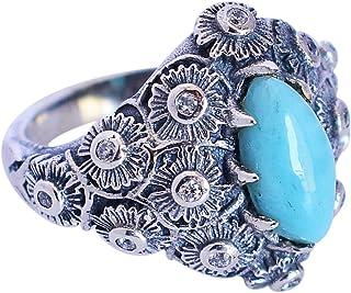 Larimar - Anillo de plata de ley 925 maciza con piedras preciosas hechas a mano, regalo para ella FSJ-5686