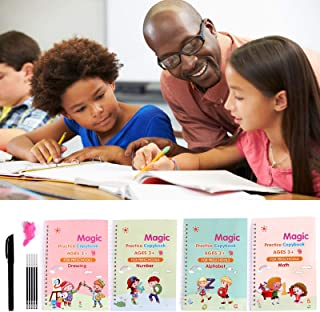 4PCS Magic Reusable Practice Copybook for Kids - Handwriting Workbook with Drawing Pens for Preschoolers, Writing Practice...