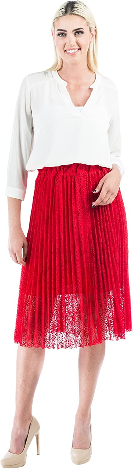 Aerusi Pleated Exqusite Lace Skirt with Elasic Waist fits 24