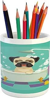 Lunarable Nursery Pencil Pen Holder, Pug Dog in Bathtub Grooming Salon Service Shampoo Rubber Duck Pets in Cartoon Style Image, Printed Ceramic Pencil Pen Holder for Desk Office Accessory, Teal