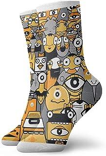tyui7, Calcetines de compresión antideslizantes con estampado geométrico de dibujos animados Calcetines deportivos acogedores de 30 cm para hombres, mujeres y niños