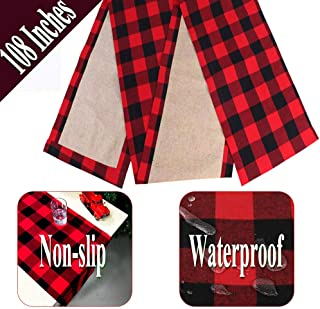 OurWarm Cotton Buffalo Plaid Table Runner, 14 x 108 Inch Christmas Table Runner Waterproof Checkered Table Runners for Farmhouse Holiday Table Christmas Decorations, Red & Black