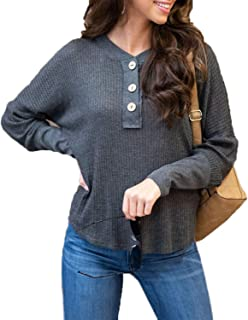 Yingqible Women's V-Neck Knit Waffle Blouse Long Sleeve Henley Shirt Loose Lightweight Pullover Sweater