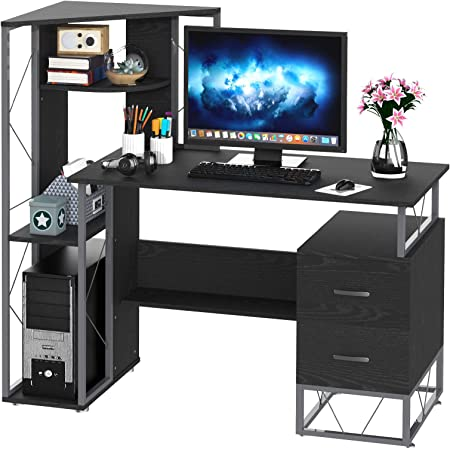 Homcom 52 Modern Multi Level Computer Desk Home Office Study Workstation With Storage Shelves Drawers And Cpu Stand Black Furniture Decor